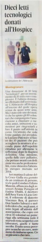 Il Corriere Adriatico - Dieci letti tecnologici donati all'Hospice.